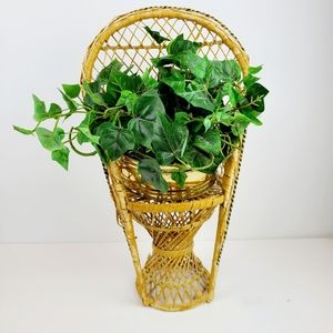 Vintage wicker chair plant stand